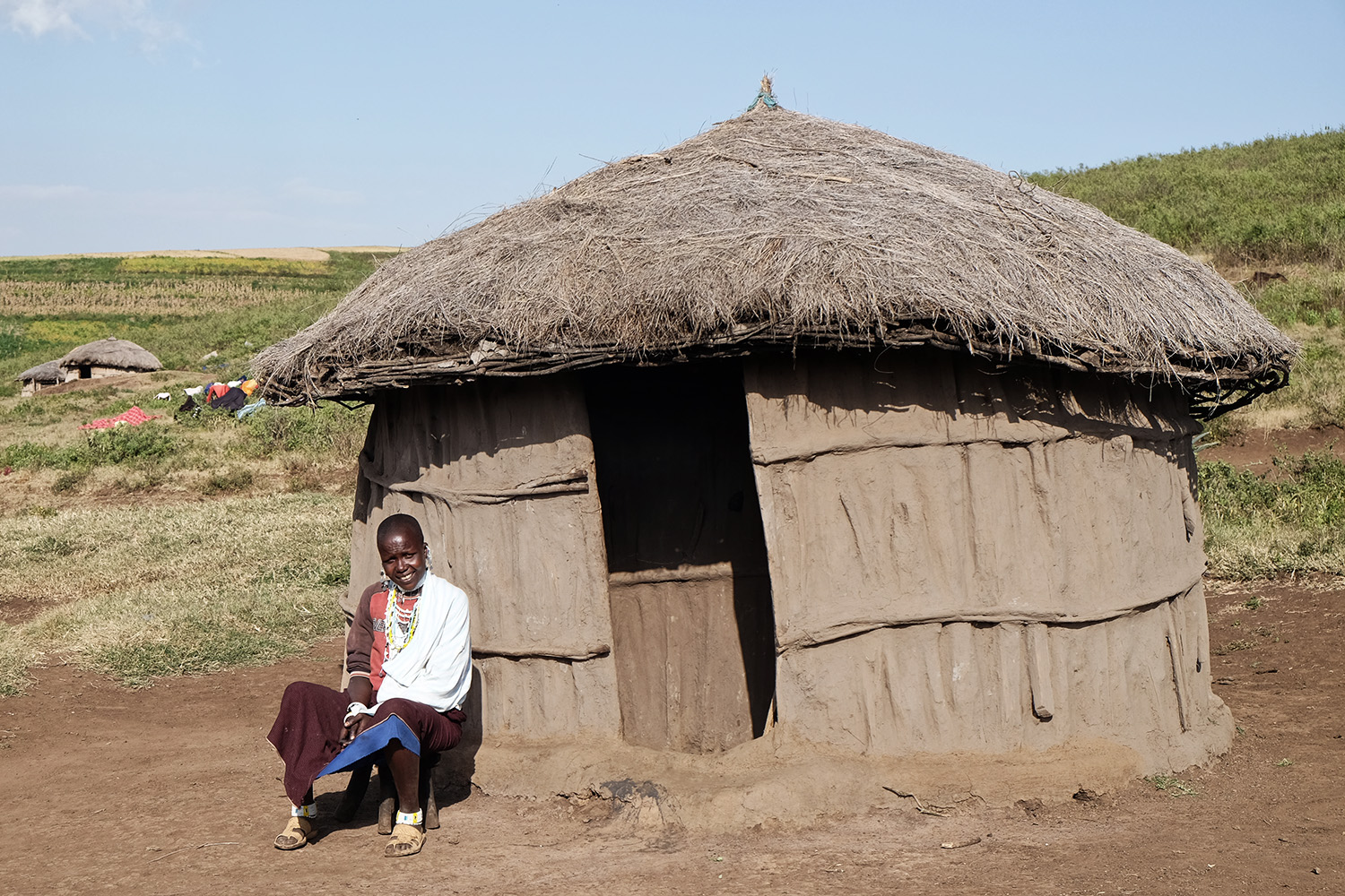 Sindani lives in this typical Massai house made of mud and straw.