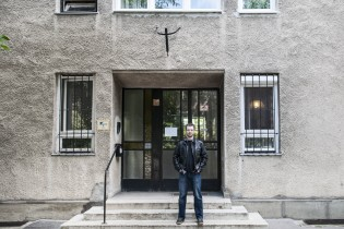 Zoltan in front of his house in Budapest.