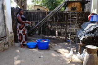 Beatrice washing dishes in her backyard also used has a hen house.