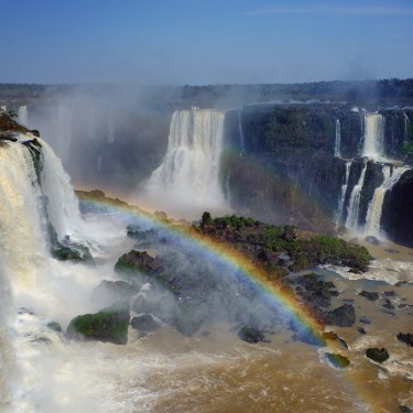 Day 67 – Argentina – Iguazu Falls – The falls seeing from the top, near the Garganta del Diablo, with a wonderful sunlight creating a rainbow.