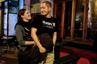 Monique and her husband Kevin just coming from a restaurant in the center of Cape town.
