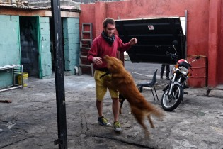 Warren playing with a dog in is blacksmith workshop (shared with a Piaggio workshop).