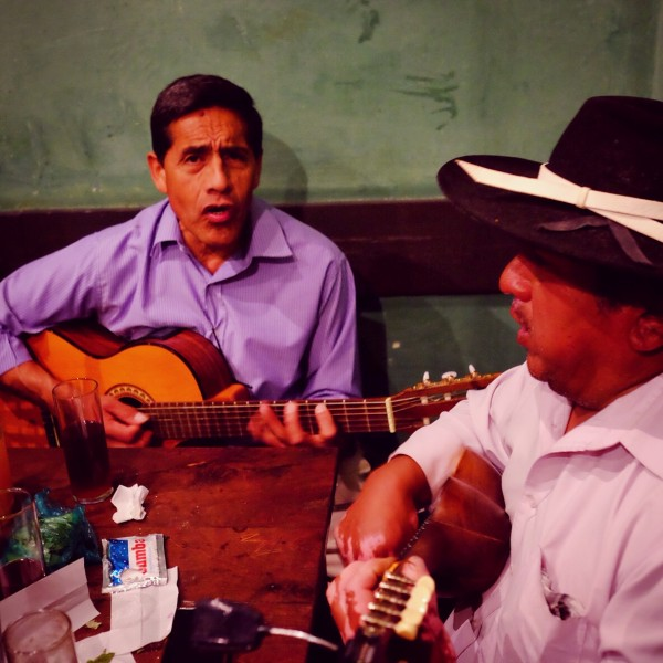 Day 73 - Argentina - Salta - Clients of La Casona del Molino, playing music and singing on a Saturday night.