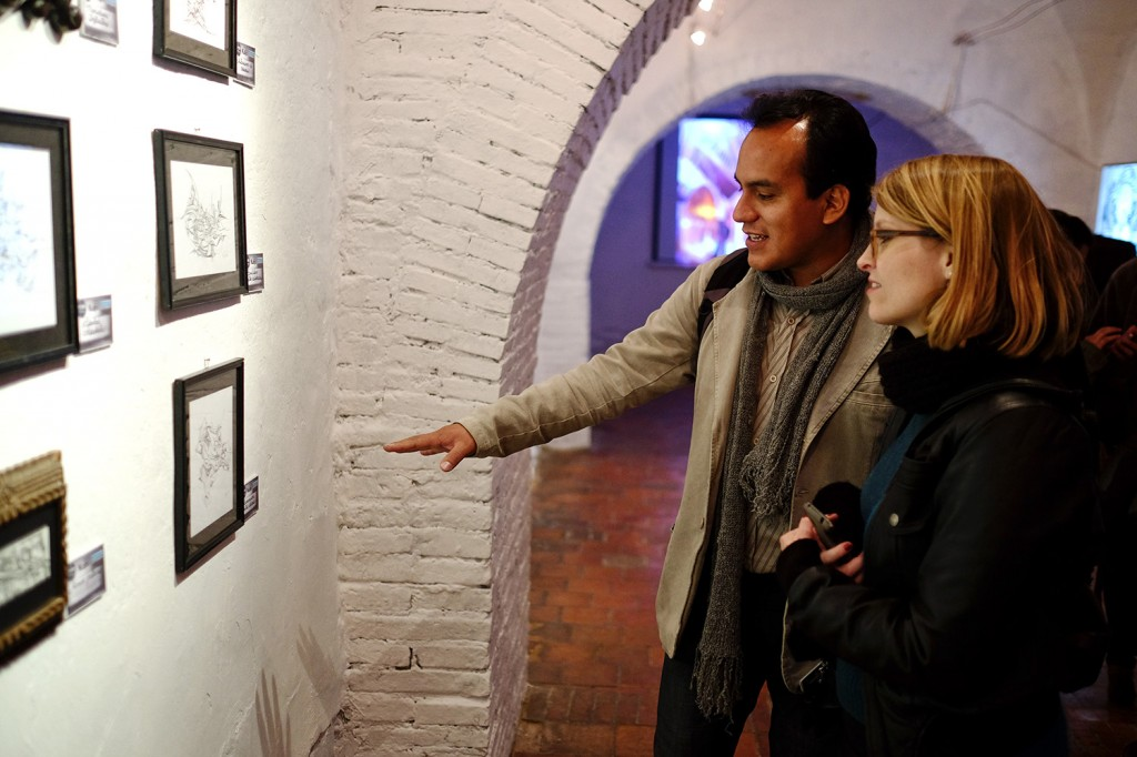Alvaro and a friend of him spending some good time at an art exhibition in La Paz.