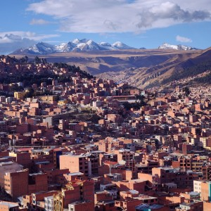 Day 87 – Bolivia – La Paz – View over the city of La Paz, surrounded by the Andes, from the brand new red cable car.