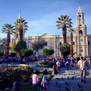 Day 100 – Peru – Arequipa – Just a normal day at the always busy Plaza de Armas of Arequipa.
