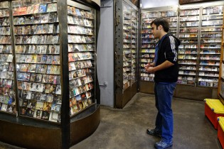 Alvaro spending some time at a music store...