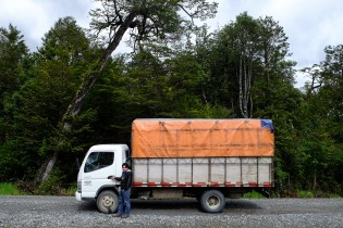 Cristian and his truck on the Carretera Austral