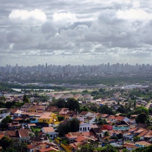 Day 118 – Brazil – Recife – The colonial city of Olinda with the skyscrapers of Recife on the background.