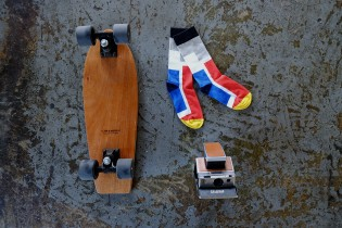 "Maceo chose 3 objects: 1) His skateboard because it is onne of his passions and always have one with him or in his car 2) A pair of socks that represent his job as an entrepreneur 3) A Polaroid SX-70 because he loves to meet people and often photograph them with a Polaroid because they cannot be Photoshopped, those are just ""real"" photographs..."