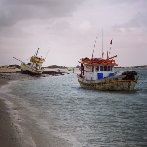 "Day 127 – Brazil – Caburé – On the way to ""Parque dos Lencois Maranhenses"", meet some fisherman on their boats."