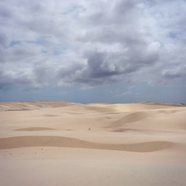 "Day 128 – Brazil – Pipa – Walking on the dunes of ""Parque dos Lencois Maranhenses"" can be endless… But the beauty of the park is worth it!"