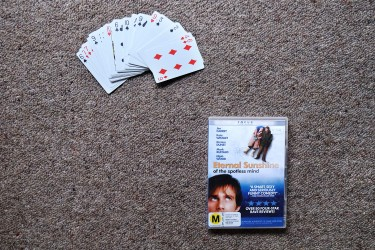 Tristan choosed 2 objects : 1) A deck of playing cards because he likes playing and 2) a DVD because he loves cinema