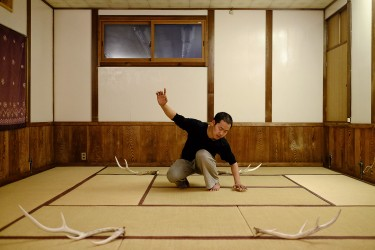 Satoshi attending a Butoh workshop in Nara.