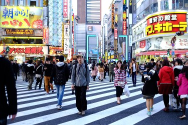Yohei in a busy crossing of the Shinjuku district of Tokyo.